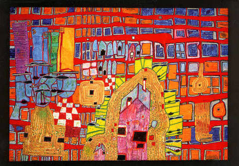Rebellion of the grid of artist Friedensreich Hundertwasser as framed image
