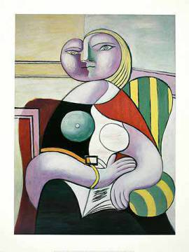 La Lecture (Woman Reading) of artist Pablo Picasso as framed image
