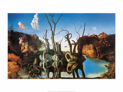 Swan Reflecting Elephants of artist Salvador Dalí as framed image