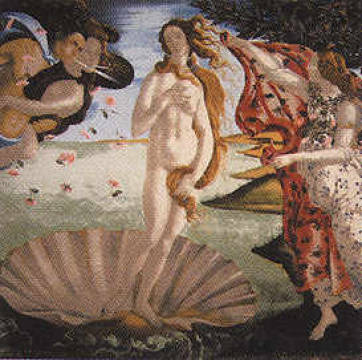 Geburt der Venus (Seidentuch) of artist Sandro Botticelli as framed image