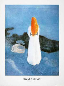 Young girl on a Jetty of artist Edvard Munch as framed image