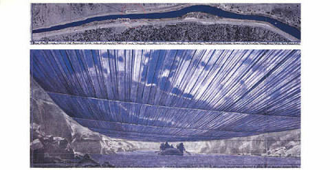 klassischer Kunstdruck: Christo und Jeanne-Claude, Over The River VIII, Project for Arkansas River