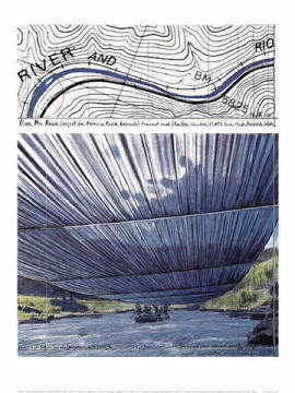 klassischer Kunstdruck: Christo und Jeanne-Claude, Over The River IX, Project for Arkansas River