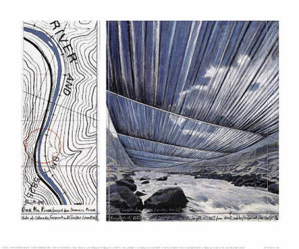 klassischer Kunstdruck: Christo und Jeanne-Claude, Over The River X, Project for Arkansas River