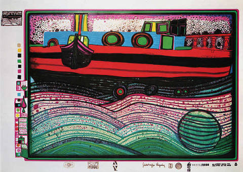 Liebe Wellen HWG51 of artist Friedensreich Hundertwasser as framed image