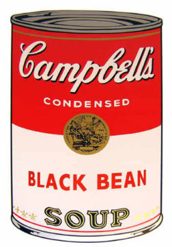 Campbell's Soup - Black Bean of artist Andy Warhol as framed image