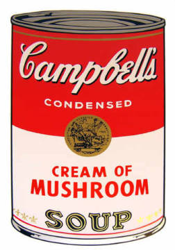 Campbell's Soup - Cream of Mushroom of artist Andy Warhol as framed image