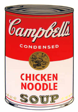 Campbell's Soup - Chicken Noodle of artist Andy Warhol as framed image