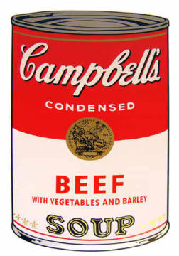 Campbell's Soup - Beef with vegetables and Barley von Künstler Andy Warhol als gerahmtes Bild