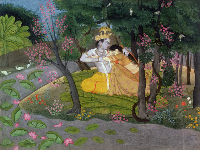 Pahari School: Krishna Radha embracing grove Kangra Himachal… Art Print