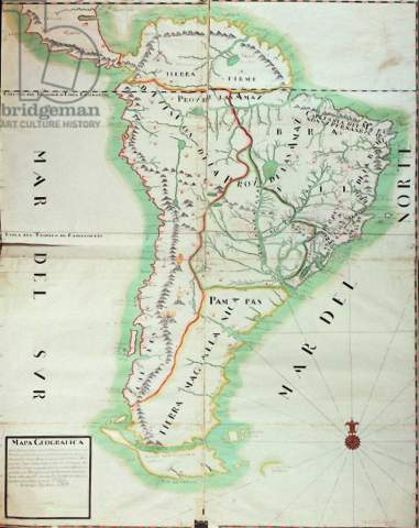 Fine Art Reproduction Map of South America, 1777 by Spanish School on  Aquarell