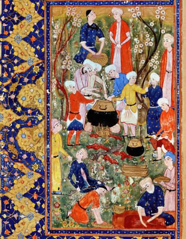 Fine Art Reproduction Preparing a meal, illustration from an epic poem by  Hafiz Shirazi, Safavid by Persian School on Kunstdruckpapier