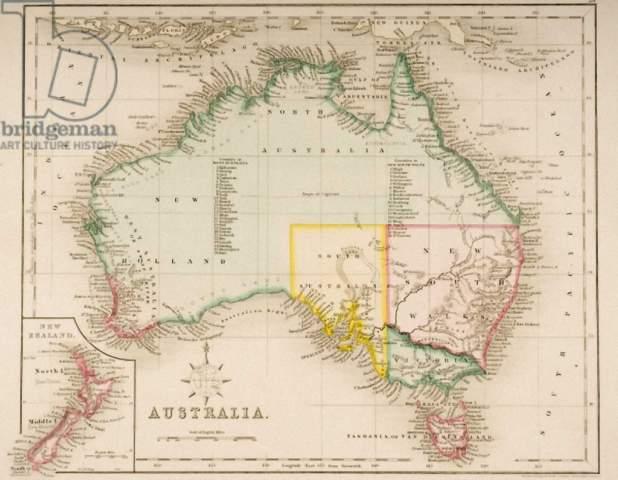 Fine Art Reproduction Map of Australia and New Zealand by J. Archer on  Kunstdruckpapier