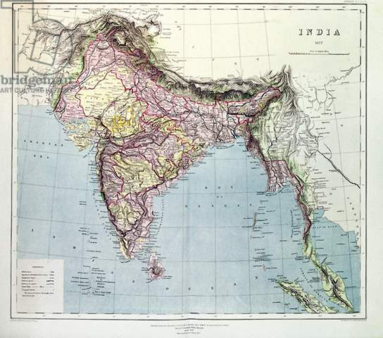 on direction map of india
