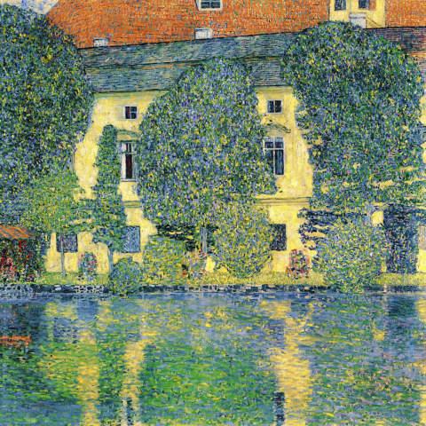 Gustav Klimt The Schloss Kammer On The Attersee 1910 Art Print Glass Print