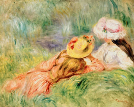 Young Girls on the River Bank von Künstler Pierre Auguste Renoir als gerahmtes Bild