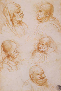 Kunstdruck, individuelle Kunstkarte: Leonardo da Vinci, Five Studies of Grotesque Faces