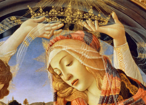 Detail of The Madonna of the Magnificat, detail of the Virgin's face and crown, 1482 von Künstler Sandro Botticelli als gerahmtes Bild