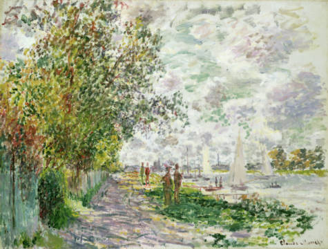 Kunstdruck, individuelle Kunstkarte: Claude Monet, The Riverbank at Gennevilliers, c.1875