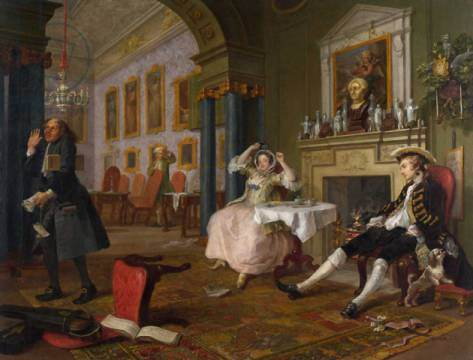 Marriage a la Mode: II - The Tete a Tete, c.1743 von Künstler William Hogarth als gerahmtes Bild
