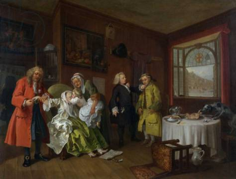 Marriage a la Mode: VI, The Lady's Death, c.1743 von Künstler William Hogarth als gerahmtes Bild