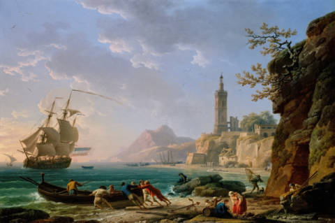 A Coastal Mediterranean Landscape with a Dutch Merchantman in a Bay, 1769 of artist Claude Joseph Vernet as framed image