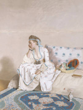 Portrait of Marie Fargues, wife of the artist in Turkish costume, 1756-58 of artist Jean-Etienne Liotard as framed image