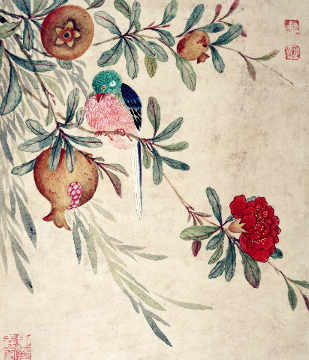 One of a series of paintings of birds and fruit, late 19th century von Künstler Wang Guochen als gerahmtes Bild