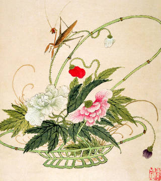 One of a series of paintings of flowers and insects, late 19th century von Künstler Liu Hua als gerahmtes Bild