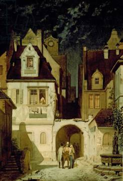 A Corner of a German Town by Moonlight of artist Carl Spitzweg as framed image
