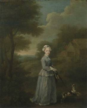 Miss Wood with her Dog, c.1730 von Künstler William Hogarth als gerahmtes Bild