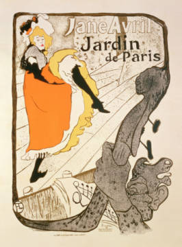 Kunstdruck, individuelle Kunstkarte: Henri de Toulouse-Lautrec, Reproduction of a poster advertising 'Jane Avril' at the Jardin de Paris, 1893