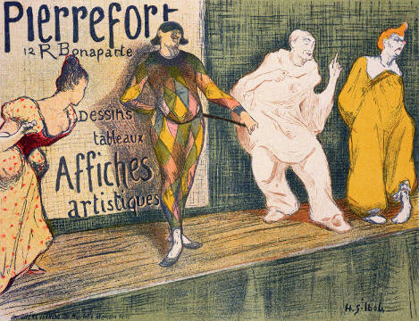 Kunstdruck, individuelle Kunstkarte: Henri-Gabriel Ibels, Reproduction of a poster advertising 'Pierrefort Artistic Posters', Rue Bonaparte, 1897