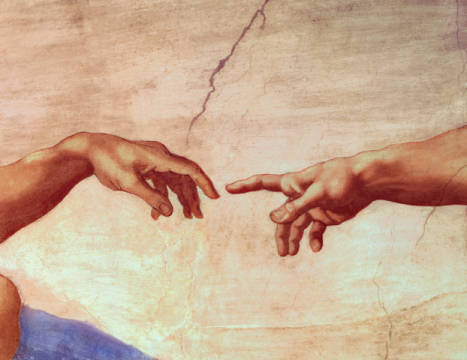 digitaler Kunstdruck, individuelle Kunstkarte: Michelangelo Buonarroti, Hands of God and Adam, detail from The Creation of Adam, from the Sistine Ceiling, 1511