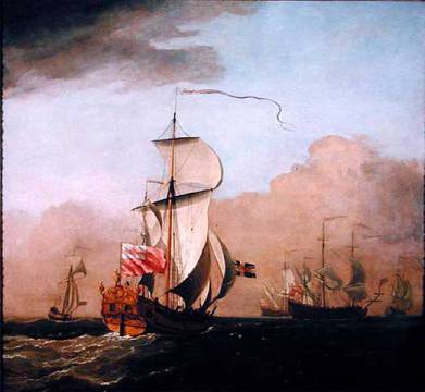 The Second Duke of Albemarle's Ketch with a yacht to the left and three warships in the distance to the right of artist Willem van de Velde as framed image
