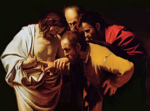Kunstdruck, individuelle Kunstkarte: Michelangelo Merisi da Caravaggio, The Incredulity of St. Thomas, 1602-03