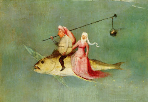 Kunstdruck, individuelle Kunstkarte: Hieronymus Bosch, The Temptation of St. Anthony, right hand panel, detail of a couple riding a fish