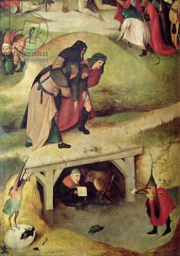 Temptation of St. Anthony, detail from left hand panel of the triptych von Künstler Hieronymus Bosch als gerahmtes Bild