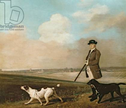 Sir John Nelthorpe, 6th Baronet out Shooting with his Dogs in Barton Field, Lincolnshire, 1776 von Künstler George Townley Stubbs als gerahmtes Bild