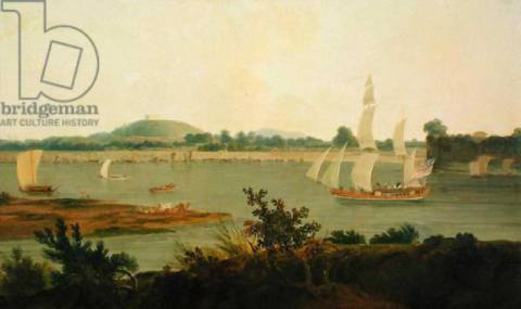 Pinnace Sailing Down the Ganges past Monghyr Fort, c.1791 von Künstler Thomas Daniell als gerahmtes Bild