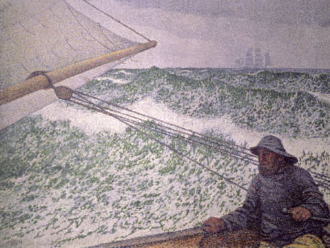 The Man at the Tiller, 1892 of artist Theodore van Rysselberghe as framed image