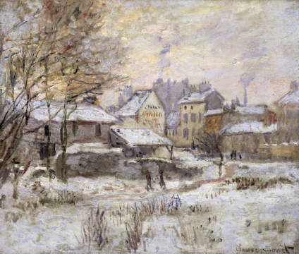 Fine Art Reproduction, individual art card: Claude Monet, Snow Effect with Setting Sun, 1875