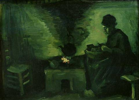 Kunstdruck: Vincent van Gogh, Peasant Woman by the Hearth, c.1885