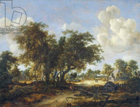 Kunstdruck: Meindert Hobbema, Wooded Landscape with Cottages, 1665