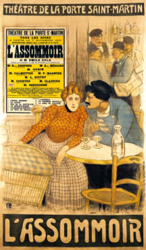 Kunstdruck, individuelle Kunstkarte: Theophile-Alexandre Steinlen, Poster advertising 'L'Assommoir' by M.M.W. Busnach and O. Gastineau at the Porte Sainte-Martin Theatre, 1900