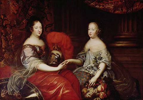 Kunstdruck: Simon Renard de Saint-Andre, Portrait of Anne of Austria (1601-66) and her Niece and Step-daughter Marie-Therese of Austria (1638-83) c.1664