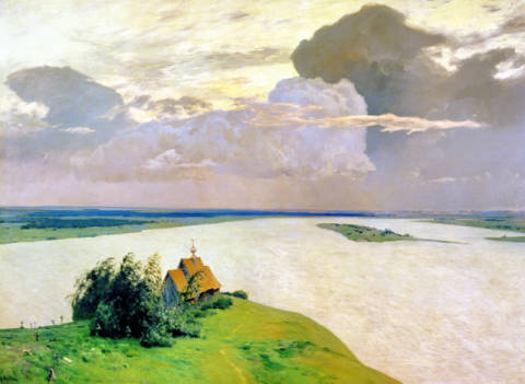Fine Art Reproduction, individual art card: Isaak Ilyich Levitan, Above the Eternal Peace, 1894