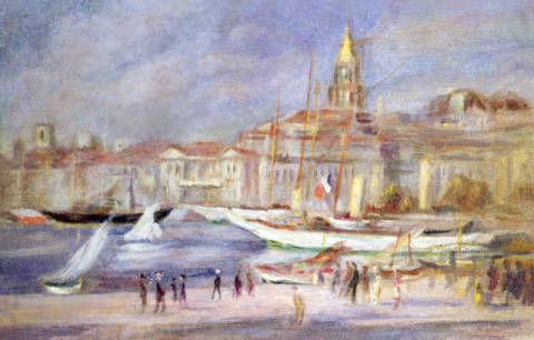The Old Port of Marseilles, c.1912 of artist Pierre Auguste Renoir as framed image