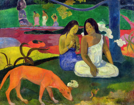 Arearea , 1892 of artist Paul Gauguin as framed image