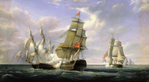 Combat between the French Frigate 'La Canonniere' and the English Vessel 'The Tremendous', 21st April 1806, 1835 von Künstler Pierre Julien Gilbert als gerahmtes Bild